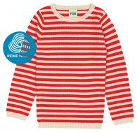 FUB AW18 Kids Extrafeinstrickpullover, Striped Rib Blouse, ecru/red, (Merinowolle)