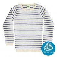 FUB AW17 Kids Extrafeinstrickpullover, Striped Rib Blouse, ecru/blue, (Merinowolle)