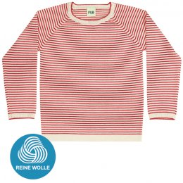 FUB AW17 Kids Extrafeinstrickpullover (Striped Blouse), ecru/red