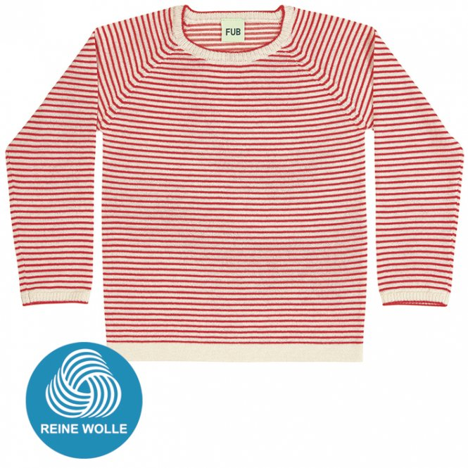 FUB AW17 Kids Extrafeinstrickpullover (Striped Blouse), ecru/red, (Merinowolle)