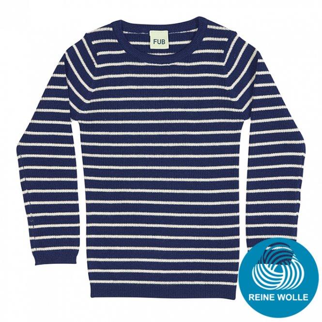 FUB AW17 Kids Extrafeinstrickpullover (Striped Rib Blouse), dark blue/ecru