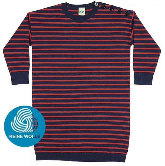 FUB AW17 Kids Feinstrickkleid (Oversize Dress), dark blue/red, (Merinowolle)