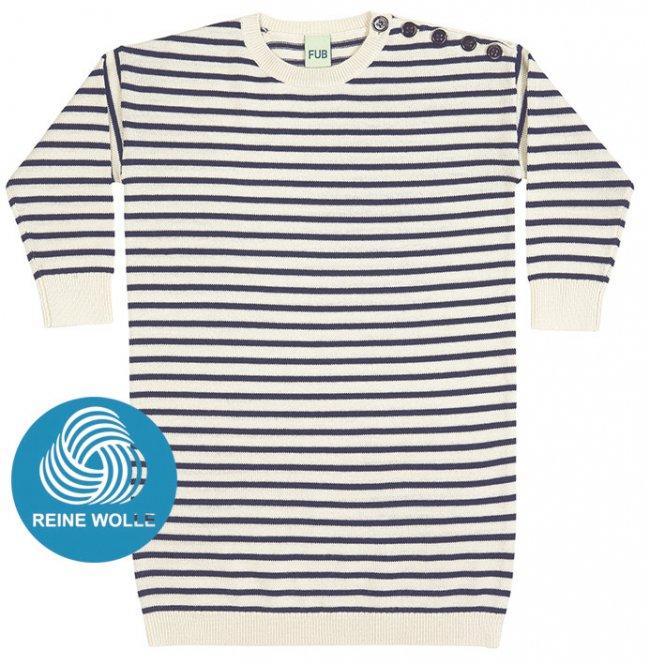 FUB AW17 Kids Feinstrickkleid (Oversize Dress), ecru/navy