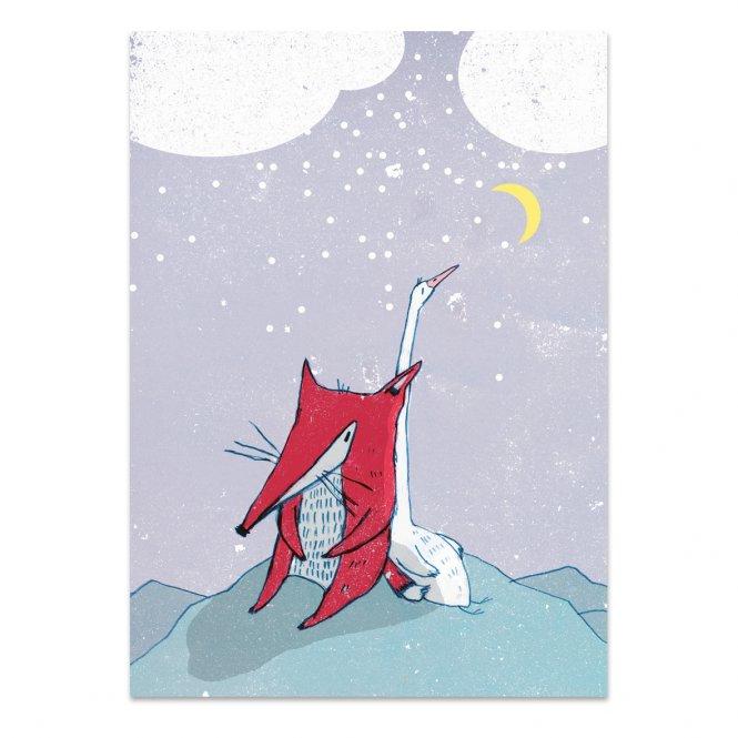 """noull - Postkarte """"Fuchs & Gans im Schnee"""""""