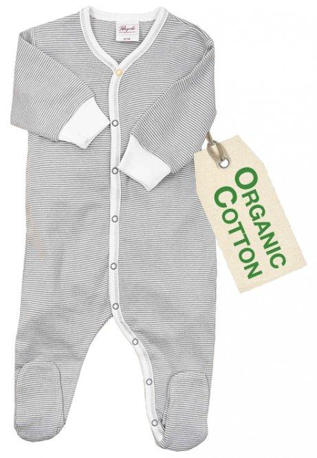 PWO Strampler/Schlafanzug grau gestreift