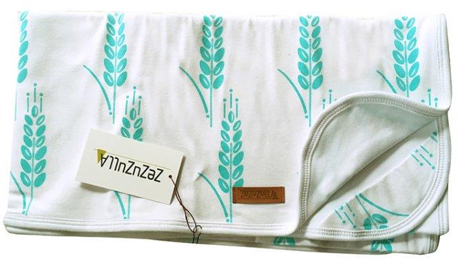 """ZEZUZULLA – Babydecke """"Turquoise Grain"""" 85 x 85 cm"""