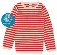 FUB AW18 Kids Extrafeinstrickpullover, Striped Rib Blouse, ecru/red, (Merinowolle)