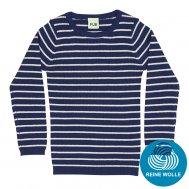 FUB AW17 Kids Extrafeinstrickpullover, Striped Rib Blouse, dark blue/ecru, (Merinowolle)