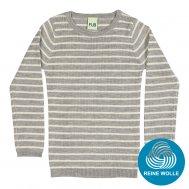 FUB AW17 Kids Extrafeinstrickpullover, Striped Rib Blouse, light grey/ecru, (Merinowolle)