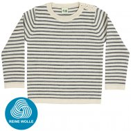 FUB AW17 Kids Feinstrickpullover, Thin Sweater, ecru/grey, (Merinowolle)