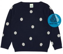 FUB AW18 Kids Feinstrickpullover, Dot Blouse, dunkelblau (Merinowolle)