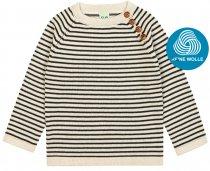FUB AW18 Kids Strickpullover, Sweater, ecru/brown, (Merinowolle)